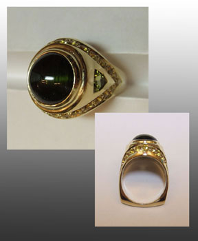 18k gold ring with green tourmaline with cats eye. Green and golden shappires. Cast and fabricated and designed by Ruth Rhoten